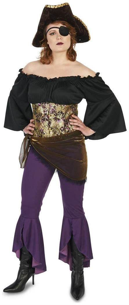 Have a swashbuckling Halloween in this Adult Rifling Buccaneer Queen Pant  Set Costume.