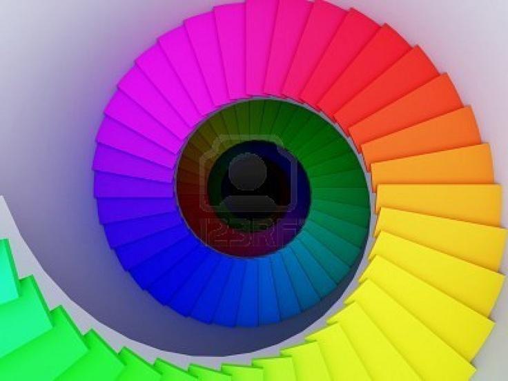 Une illustration 3D d'un escalier en spirale colorée à l'infini.