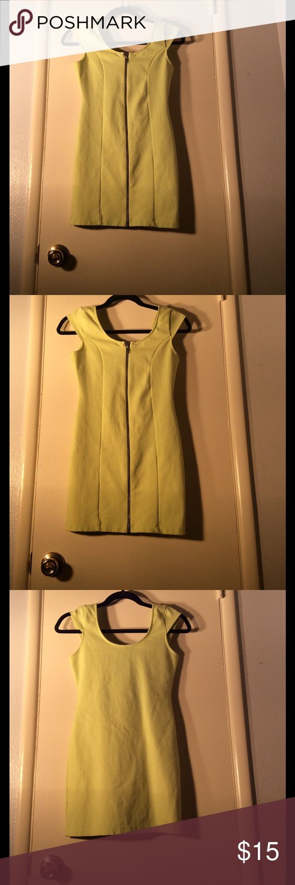 H&M NEON GREEN DRESS NEON GREEN DRESS ZIP UP FRONT THICK STRETCHY MATERIAL WORN TWICE! H&M Dresses Mini