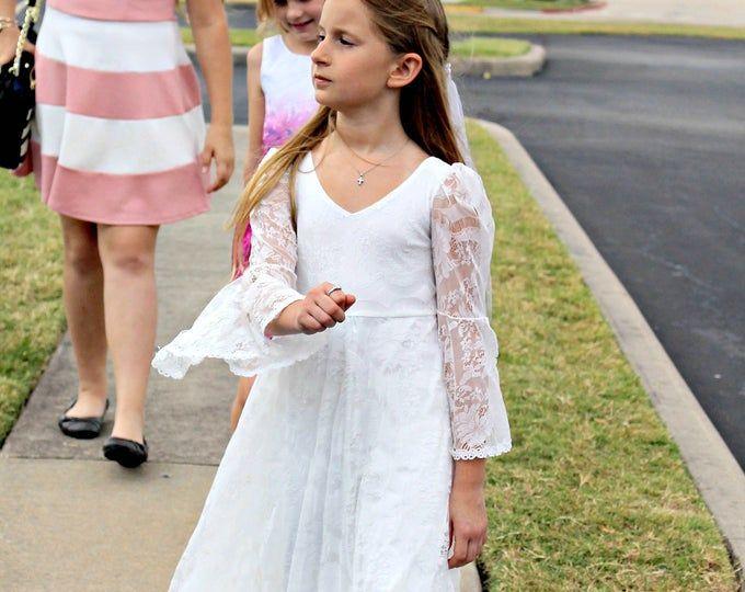 First Communion Dress, Flower Girl White Chiffon Dress, Boho Girls Dress, baptism, Bohemian Wedding,
