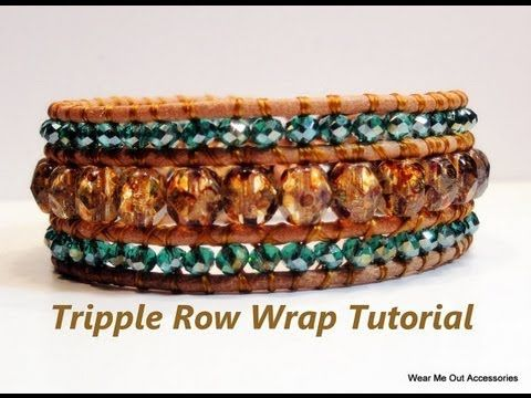 ▶ DIY-Triple Row Leather Wrap Bracelet- Part 1 - YouTube. Great tut with nice description of supplies and methods.