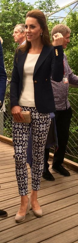 Kate sports patterned GAP trousers on Day 2 of Cornwall County visit