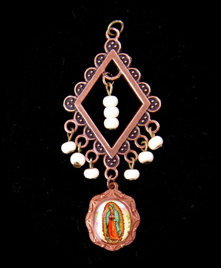 Vintage Czech Glass Pendant Necklace Virgin Mary Christian Religious Faux Pearl #Unbranded #Pendant