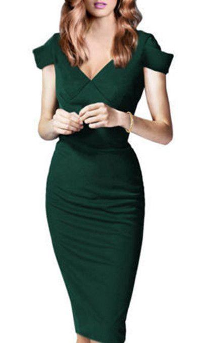 Noble V-Neck Short Sleeve Slimming Green Women's Pencil Dress