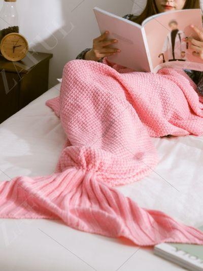 Warmth Knitted Mermaid Tail Blanket PINK: mermaid blanket | ZAFUL