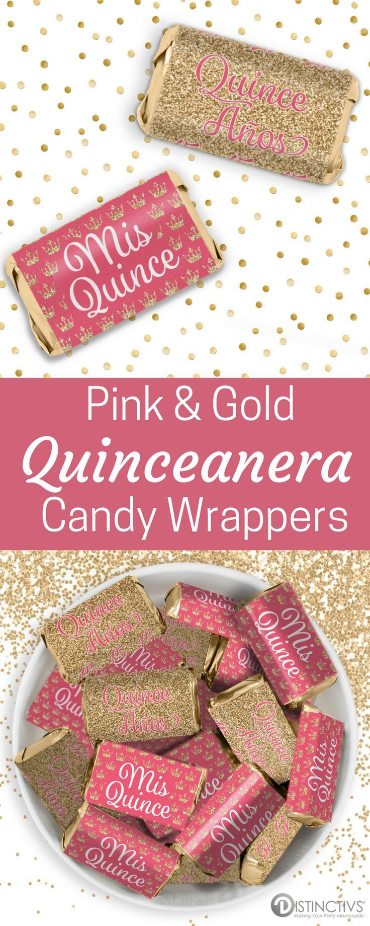 Pink and Gold Quinceanera Mini Candy Bar Stickers - 54 Count ...