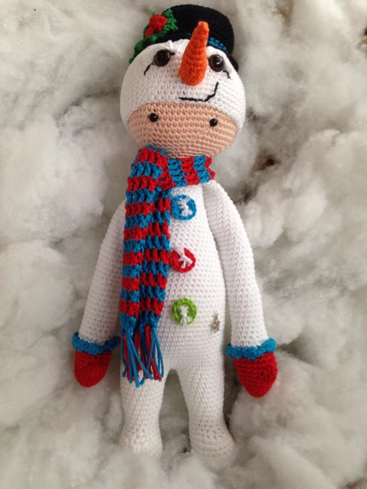 Lalylala snowman made by Peggy G.