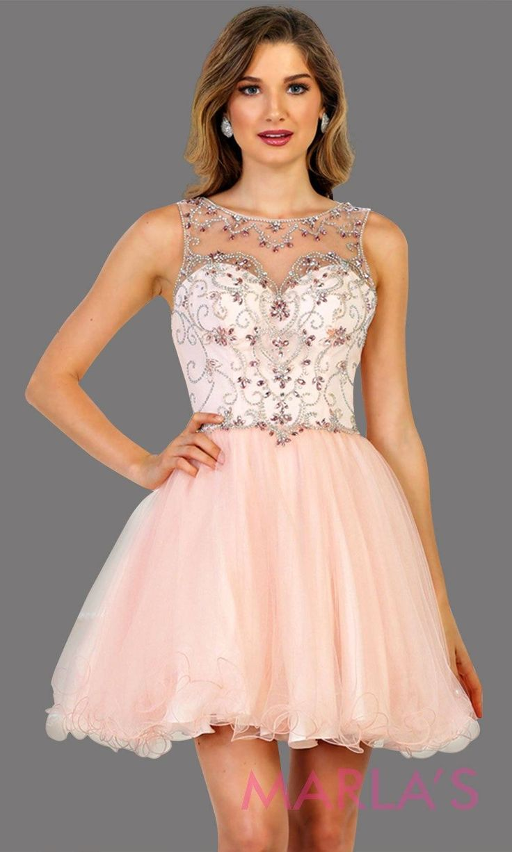 Short high neck blush pink puffy grade grad dress or homecoming