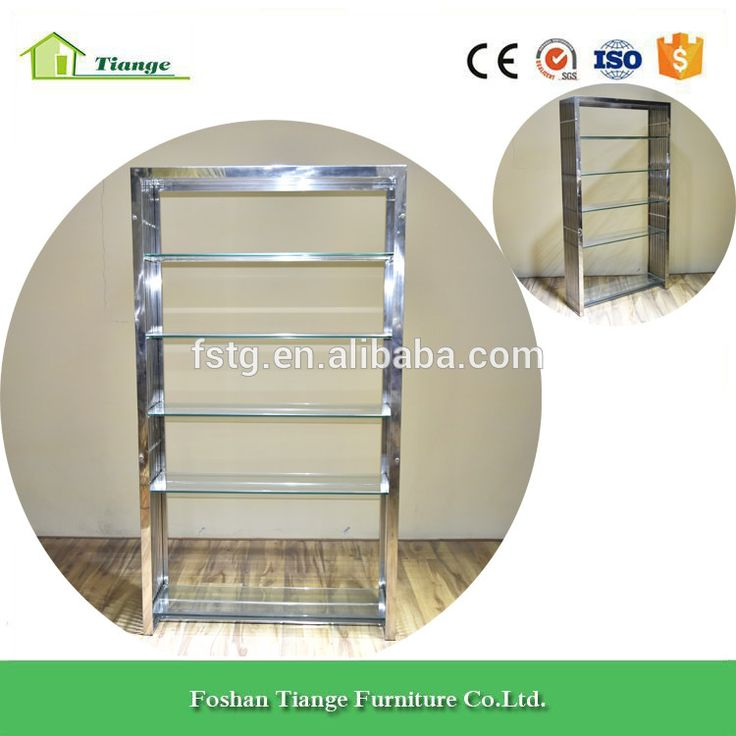 office furniture clear tempered glass shelves gridiron stainless steel bookshelf