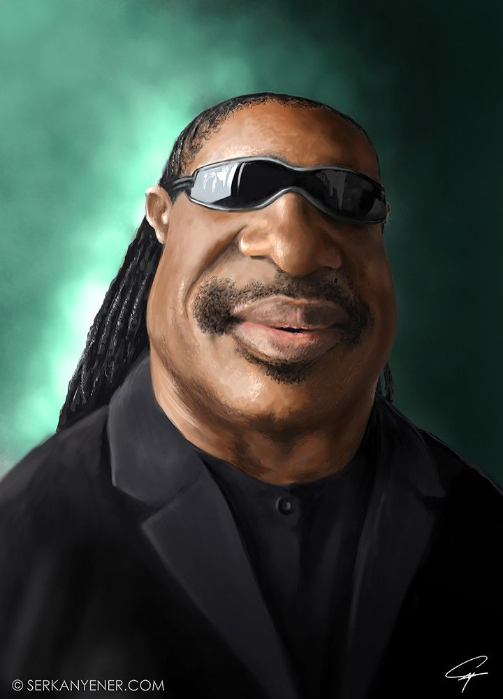 ArtStation - Digital Painting Caricature of Stevie Wonder, Serkan Yener