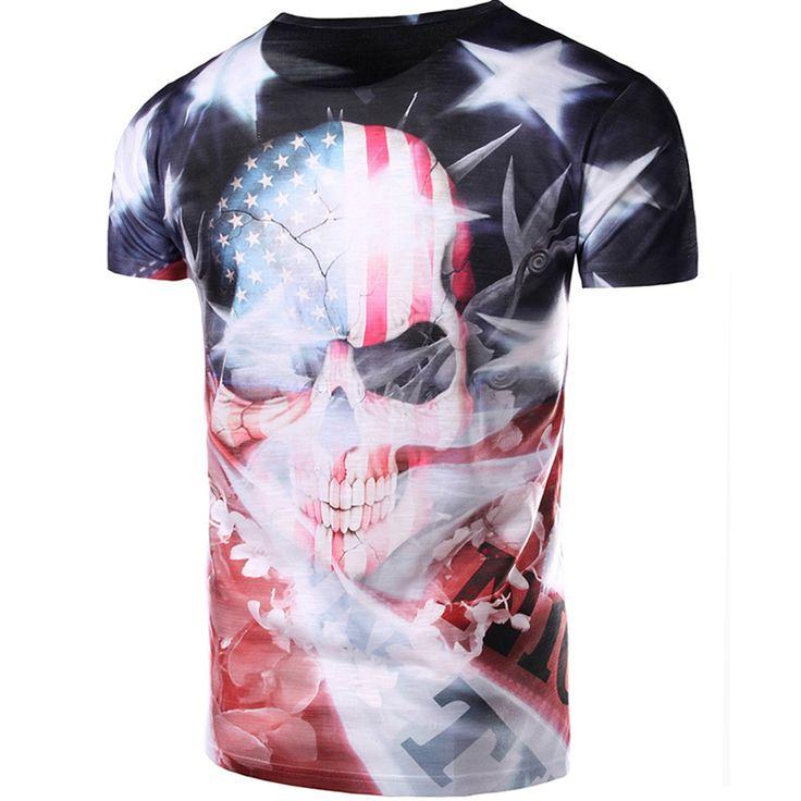 Men 3D Skeleton Print T shirt Round Neck Short Sleeve Tops Tees 2017 Fashion Elastic T-Shirt Summer Fitness Men Shirt Clothing #Affiliate