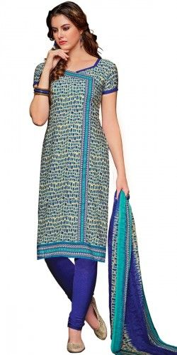 Marvelous Blue And Cream Crepe Printed Straight Salwar Suit With Dupatta.