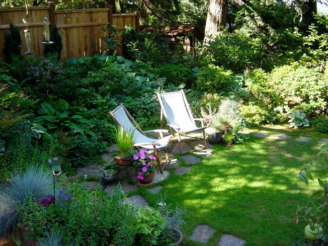 The white chairs really do look inviting in the dappled shade!  In Portland Oregon,