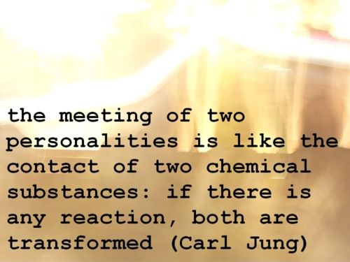 the meeting of two personalities is like the contact of two chemical substances: if there is any reaction, both are transformed (Carl Jung)