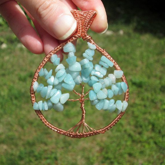 amazonite tree of life pendant necklace wire gift for mom christmas fashion style birthstone by FloralFantasyDreams