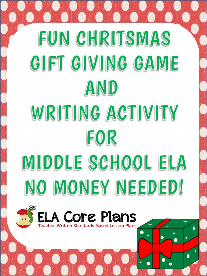 Middle School ELA Christmas Gift Game & Writing Activity ~ No Money Needed!  This is going to be so much fun!