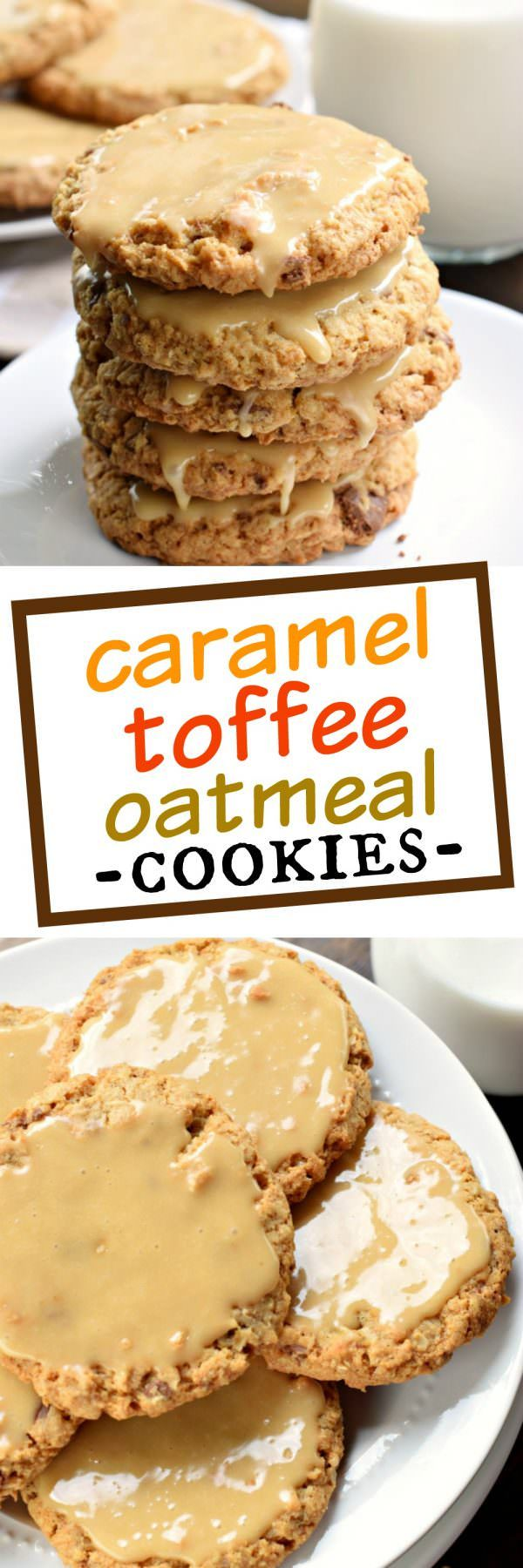 These homestyle Iced Caramel Toffee Oatmeal Cookies are better than anything bought in a store! Bake a batch today and watch them disappear!#recipe