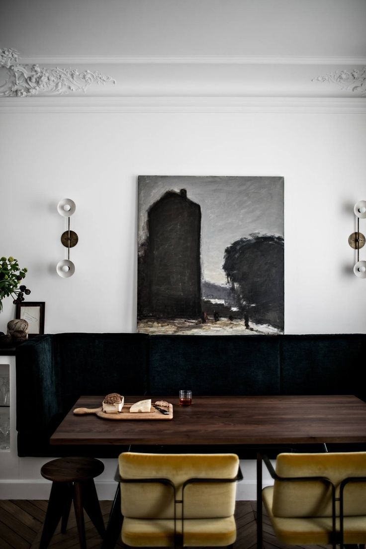 Dining area in a masculine elegant Paris home by Jean Charles Tomas   Photography ©️️ Benoit Linero