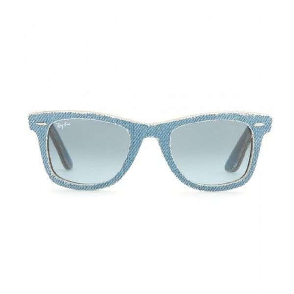 Ray-Ban Wayfarer Denim-Coated Sunglasses ($245) ❤ liked on Polyvore featuring accessories, eyewear, sunglasses, glasses, blue, blue wayfarer, blue sunglasses, ray-ban, ray ban glasses and ray ban eyewear