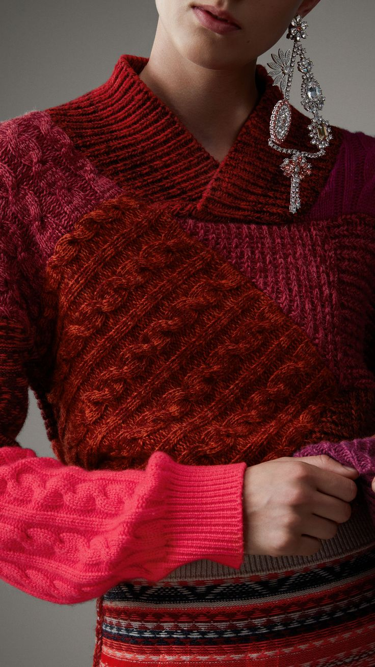 Pullover patchwork in cashmere e lana (Rosso Bacca) - Donna | Burberry