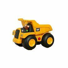 """Toystate Caterpillar Construction Big Movin' Rumbler Dump Truck With Figure by Toystate. $24.99. Lights, music, cool CAT sounds and construction phrases. Includes 1 Cat friendly builders figure which sits in the cockpit to unlock cool sounds and music. Three """"AA"""" batteries included. Classic Cat Dump Truck with cool kid styling. Features motorized forward drive. From the Manufacturer                Classic Cat Dump Truck with cool kid styling. Features motorized forwarddrive, li..."""