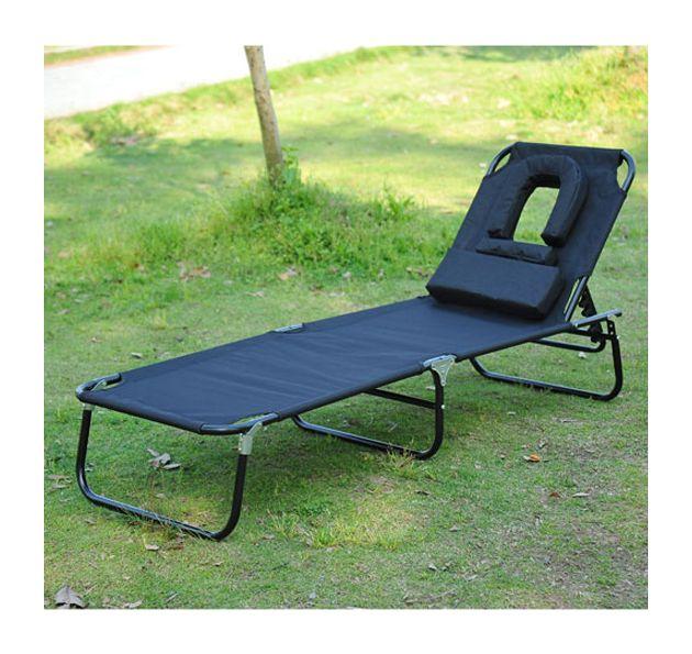 Tumbona Inclinable Acero Hamaca Plegable Playa con Almohada Masaje y Leer Negro Negro - 01-0342 - Jardines y piscinas