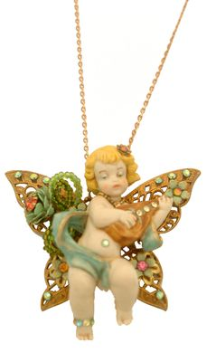 Setty Gallery - Michal Negrin Jewelry Cherub In A Butterfly Necklace, $156 (http://www.settygallery.com/michal-negrin/michal-negrin-jewelry-cherub-in-a-butterfly-necklace/)