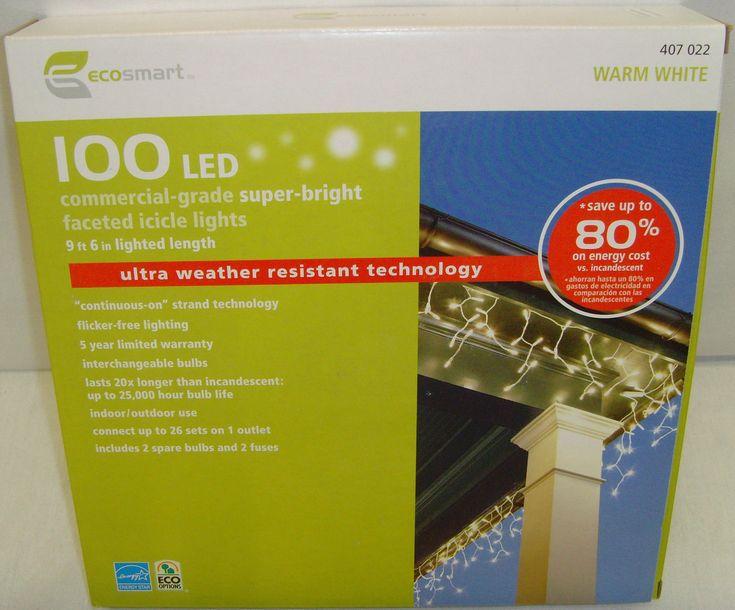 ecosmart 100 led commercial grade super bright icicle warm white christmas light - Ecosmart Led Christmas Lights