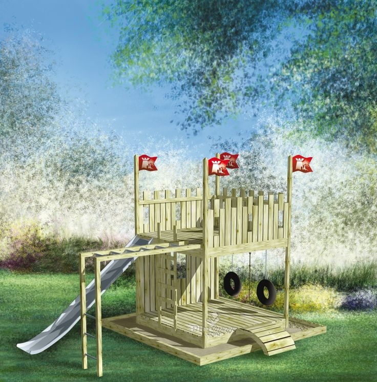 Vos enfants s'inventeront mille et une histoires dans ce magnifique « château » sur deux niveaux. Sable, échelle, barreaux, glissade, balançoires à pneu et corde avec nœuds sauront nourrir leur imagination.