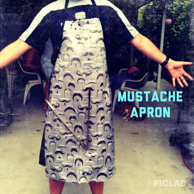 Mustache Apron with invisible pocket,  for dad