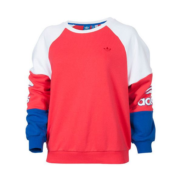 Women's adidas Originals LA Crew Sweatshirt ($65) ❤ liked on Polyvore featuring tops, hoodies, sweatshirts, sweaters, red sweatshirt, crew sweatshirt, color block top, relaxed fit tops e crew top