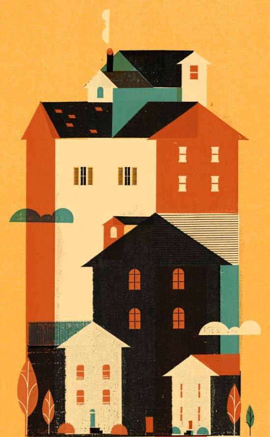 Keith Negley. De kleuren, de vormen, de ruimte. Mooi. House city illustration design nice color palette