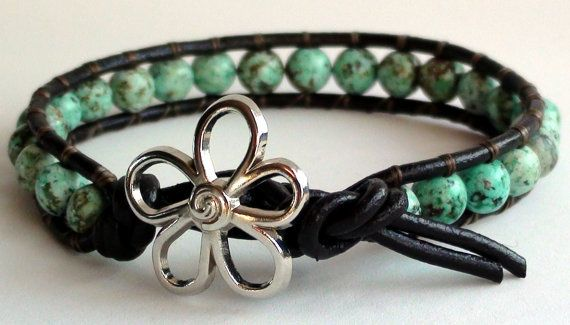 African Turquoise Leather Wrap Bracelet new by TaphiaDesigns, $25.00
