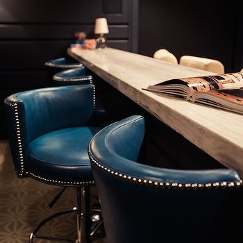 Peacock Blue Leather Barstools