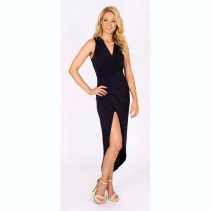 3RD LOVE Holiday Midi Wrap Dress Navy