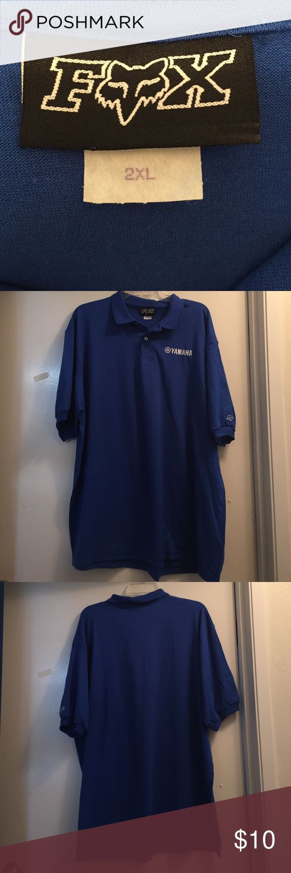 """Mens Fox brand polo shirt for sale! Size 2 XL Mens Fox Brand polo shirt for sale! 100% cotton. Front left of shirt has """"Yamaha"""" embroidered. Fox brand logo embroidered on left sleeve. Have 24 to sell! Buy one or buy all! Make an offer! Fox Shirts Polos"""