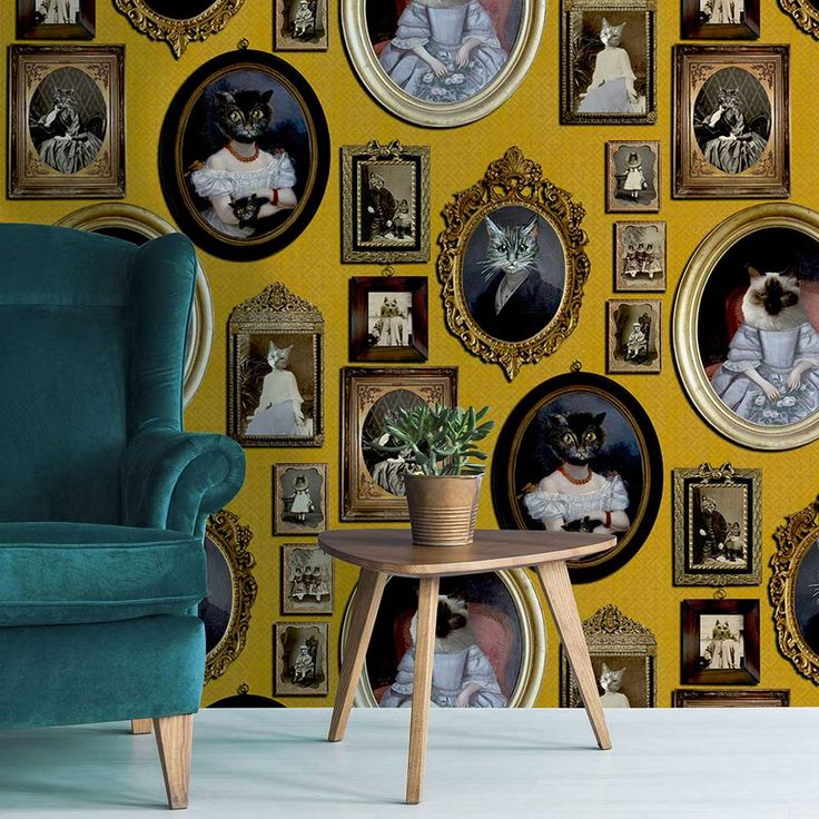 Quirky Wallpaper, Feature Wallpaper, Contemporary Wallpaper, Wallpaper Paste, Cat Wallpaper, Wallpaper Ideas, Mustard Wallpaper, Cole And Son, Yellow Background