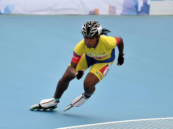 Geiny Pájaro, campeona mundial de patinaje en la contrarreloj sobre 300 metros juveniles, el 11 de septiembre en China.