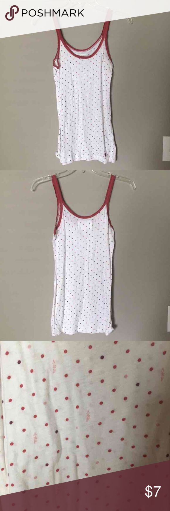 Abercrombie & Fitch Polka Dot Cami Abercrombie & Fitch white tank cami with maroon trim and polka dots. Size M, smoke-free home Abercrombie & Fitch Tops Tank Tops