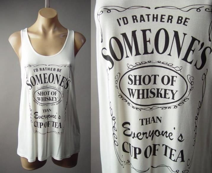 White Alcohol Whiskey Sassy Funny Graphic Racer Back Tank Top 186 mv Shirt M L #Other #GraphicTee