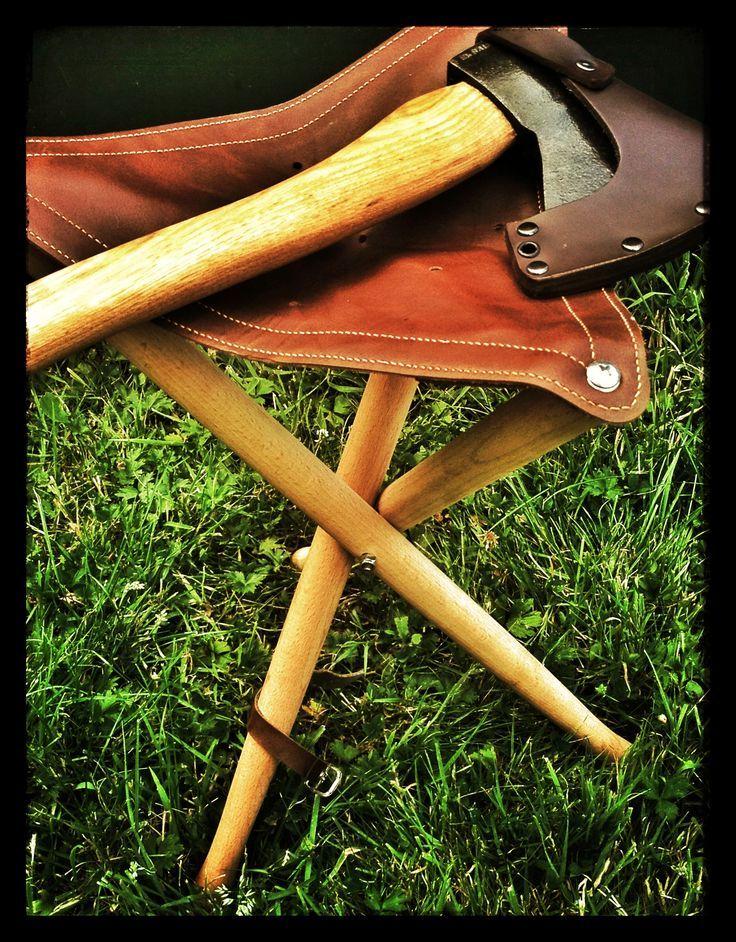 New Wood Amp Leather Folding Tripod Camp Stool Camp