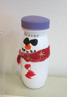 Yop bottle snow men