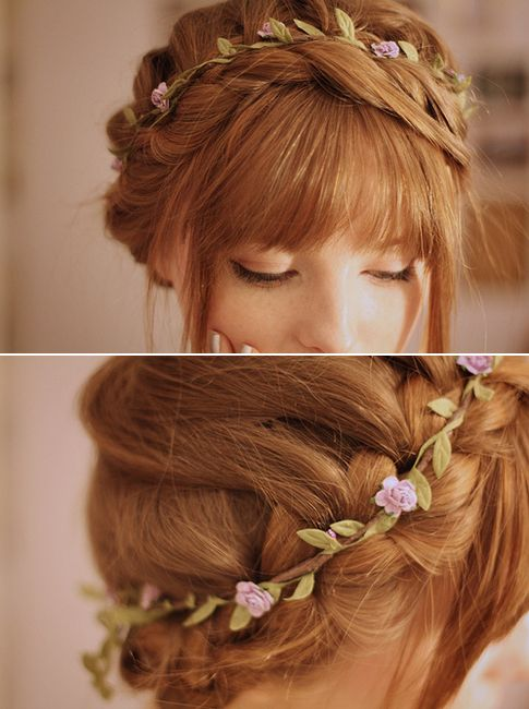 Thin, simple flower crown - you could do a waterfall carousel braid with half the hair down and there would be a braided crown on the top of your head