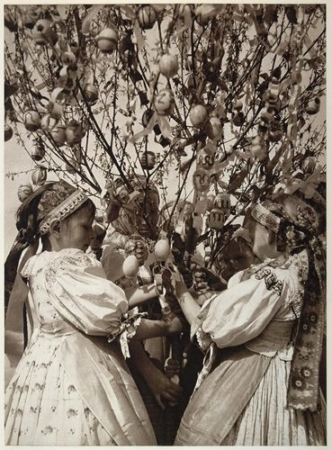 This is an original 1953 photogravure of a group of Slovakian children gathered around an Easter Egg tree on Easter Monday in Dvornik, Slovakia, in what was the former Czechoslovakia. Photograph by Karol Plicka.