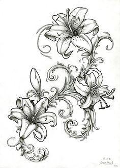 gladiolus flower tattoo drawing - Recherche Google
