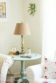 cottage/farmhouse - I have that table in red- but love this aqua and it will go in the living room