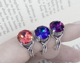 Plata Swarovski anillo cóctel oxidado anillo de plata anillo ajustable anillo delicado regalo para sus joyas de Swarovski