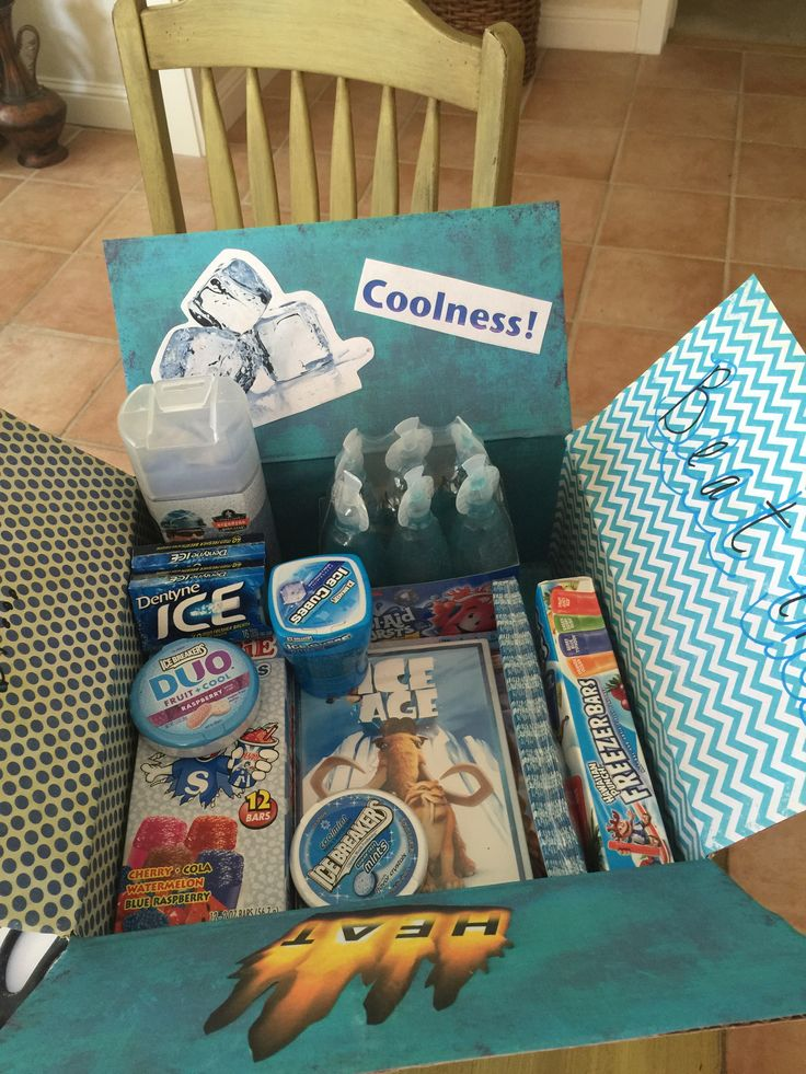 Beat the Heat with a little coolness theme care package for summer.  Ice and cool items, all blue.  Deployment or college. Military overseas.