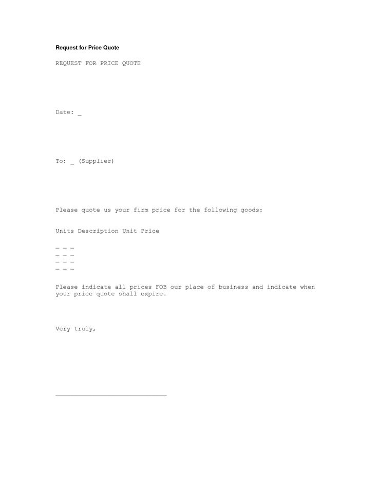 Price Quote Letter Template Cprc