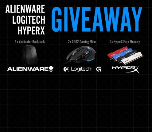 Alienware, Logitech and HyperX are giving away 1x Alienware VINDICATOR BACKPACK, 2x Logitech PROTEUS CORE and 2x HyperX FURY MEMORY! Enter for a chance to win one of these prizes! xbrxbr No purchase necessary. Available to all countries. Must be 18 or older to enter.